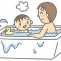 風呂に入る親子